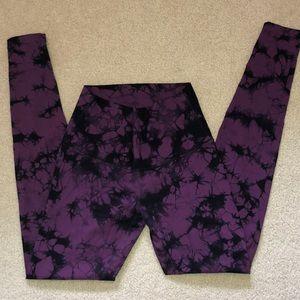 Lululemon Purple and Black tie dye leggings